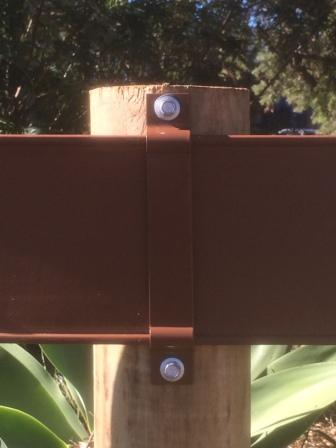 Metal Horse Fence Bracket Brown - on post