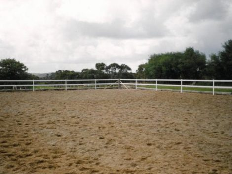inside shot horse arena fence